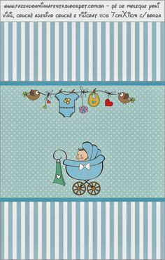 Cochecito Celeste de Bebé: Etiquetas para Candy Bar para Imprimir Gratis.