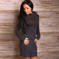 Women Fashion Long Sleeve Solid Pockets Casual Bodycon Dresses