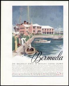 1935 Bermuda Travel Ad by Adolph Triedler.