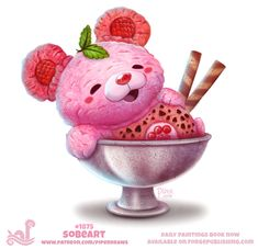 Daily Paint Sobeart by Cryptid-Creations on DeviantArt Cute Food Drawings, Cute Kawaii Drawings, Kawaii Doodles, Cute Animal Drawings, Kawaii Art, Animal Puns, Animal Food, Dibujos Cute, Cute Illustration