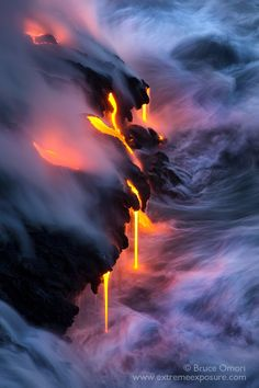 Fluid Dynamics - Multiple fingers of lava pour into the sea at Kupapa'u on the island of Hawai'i. The meeting of these forces of nature create one of the most dynamic scenes on the planet.