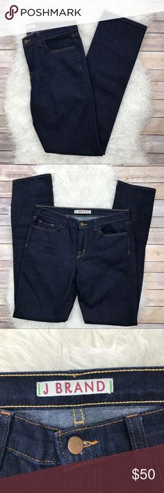 """J Brand Mid Rise Dark Skinny Jeans Excellent condition J Brand Mid Rise Skinny Jeans. Size 30. Dark blue. 72% cotton, 28% elasterall. Waistband 34"""", rise 10"""", inseam 35"""", leg cuff opening 15"""". No trades, offers welcome. J Brand Jeans Skinny"""