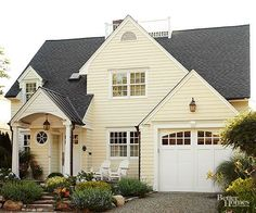 Buttercream Yellow + White + Black Want your house to be appreciated from the street? Do like these homeowners did: Paint your home's body a creamy yellow and complement the hue with bright-white accents. Set off by a black shingled and metal roof, the calming color combo advances from the surrounding greenery. Paint window trim and sashes white when you want windows to appear larger.