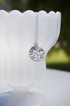Skip the heart and get mom a thoughtful and easy to put together gift - The Family Tree Charm Necklace by Jules Jewelry.  Add the kid's birthstone charms to make it even more meaningful.