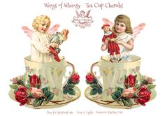 Wings of Whimsy: Tea Cup Cherubs ~ For Christmas ornaments and decor