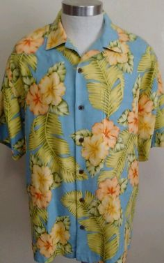 TOMMY BAHAMA MENS HIBISCUS HAWAIIAN CAMP SHIRT BLUE 100% SILK M POCKET #TommyBahama #ButtonFront