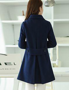 f45e30b882 Alkalmi / Nagy méretek Utcai sikk Őszi / Téli-Női Kabát,Egyszínű Hasított  rever