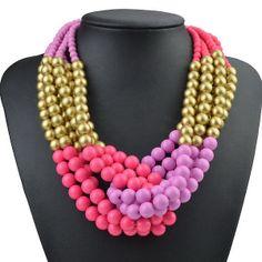 Dignity Golden Stylish Multi Beads Chunky Choker Bib Statement Necklace LX525H   eBay