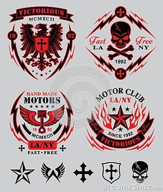 Ensemble d emblème de club de moteur