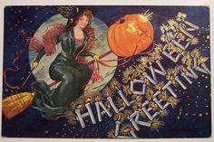 Vintage Halloween Postcard Ullman Artist Bernhardt Wall Series No 143 Retro Halloween, Victorian Halloween, Vintage Halloween Images, 31 Days Of Halloween, Halloween Signs, Halloween Pictures, Fall Halloween, Happy Halloween, Halloween Stuff