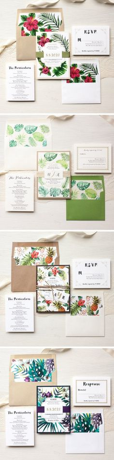 tropical watercolor wedding invitations / http://www.deerpearlflowers.com/29-watercolor-wedding-invitations/