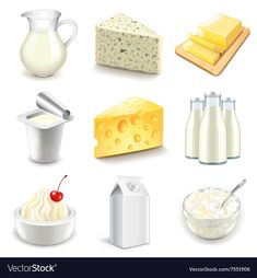 Find Dairy Products Icons Detailed Photo Realistic stock images in HD and millions of other royalty-free stock photos, illustrations and vectors in the Shutterstock collection. Thousands of new, high-quality pictures added every day. Free Vector Images, Vector Free, Healthy Prepared Meals, Cute Food Drawings, Turkey Burger Recipes, Drink Icon, Food Icons, Food Illustrations, Food Preparation