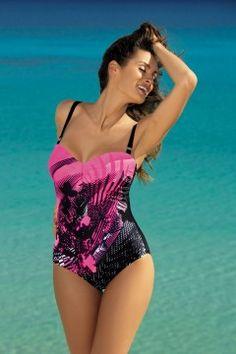 Kostium kąpielowy Tetyana Hollywood-Nero M-328 róż z czernią (122) - Elegancki kostium, w którym będziesz wyglądać wspaniale. Podkreślony piękną tkaniną o kwiecistym, egzotycznym wzorze i ładną kolorystyką.