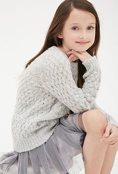 Girls Cabled Open-Knit Sweater (Kids) | Forever 21 - 2000100410