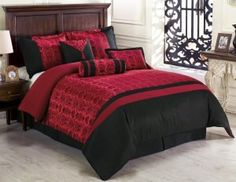 Chezmoi Collection Dynasty Jacquard 7-Piece Comforter Set, Queen, Black/Red