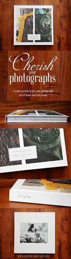 A series on how to get your photographs out of boxes and into… Blurb Photo Book, Shutterfly Photo Book, Family Yearbook, Book Design Inspiration, Wedding Photo Books, Diy Nursery Decor, Family Photo Album, Photo Layouts, Photo Journal