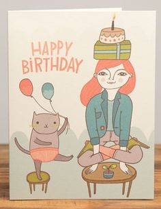 Yoga Birthday | Red Cap Cards | Illustrated greeting card by Anke Weckmann #cat #kitty