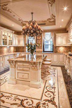 Large Kitchen Design, Luxury Kitchen Design, Dream Home Design, Luxury Kitchens, House Design, Tuscan Kitchens, Large Kitchen Layouts, Mansion Interior, Dream House Interior