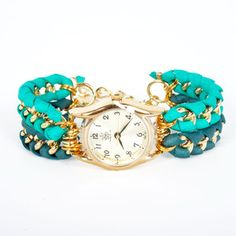 Bi-Color Leather Watch Turquoise now featured on Fab.