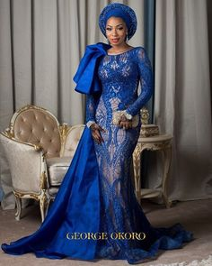 The Bride in Blue!  @hrh_asmagaro in @anazofficial  @mamzabeauty  @georgeokoro #BellaNaijaWeddings