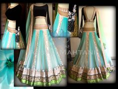 Tulle Lehenga with broad borders and embossed lining