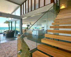 Beautiful Beach House with Industrious Style: Awesome Wooden Staircase Design Glass Balustrade Modern Beaches House