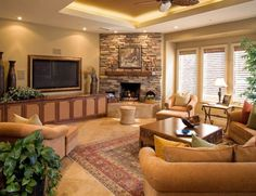 Beautifully Decorated Living Rooms | Corner fireplaces – a simple way of spreading a wonderful atmosphere ...