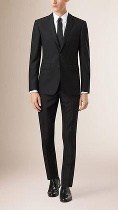 Black Slim Fit Wool Part-canvas Suit - Image 1