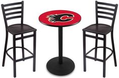 Calgary Flames NHL Round-Base Outdoor Table Set.  Visit SportsFansPlus.com for a Discount Coupon.