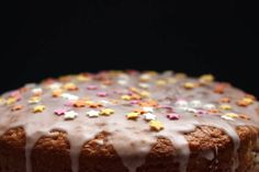 cake decorated with icing and stars