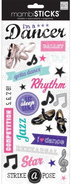 Scrapbook Flat Die Cut Stickers Ballet Slippers Dance Recital Paperhouse: 3