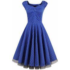 Sweet Heart Polka Dot Vintage Skater Dress (41 CAD) ❤ liked on Polyvore featuring dresses, flared dresses, blue fit-and-flare dresses, flared skater dress, cotton skater dress and sweetheart dress