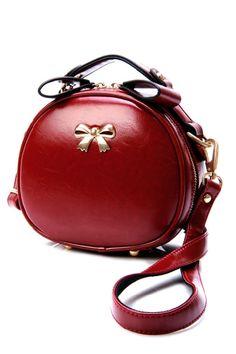 Retro Round Shape Bow-Trim Shoulder Bag - OASAP.com