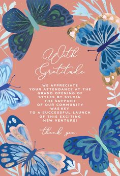 Blue Butterflies - Thank You Card #greetingcards #printable #diy #thankyou #notes #thanks Thank You Notes, Thank You Cards, Thank You Card Template, Blue Butterfly, Grand Opening, Rooster, Butterflies, Greeting Cards, Product Launch
