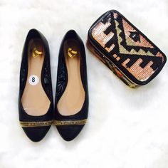 Black Flats with Gold Zipper Details Brand new with tags. True size 8. In perfect condition. No box. Please ask if you have any questions. Bundle and Save Report Shoes Flats & Loafers