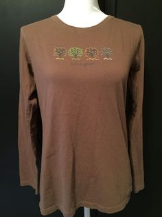 Life is Good Womens M Long Sleeve Brown Four Seasons with Trees #LifeisGood #LongSleeveTee