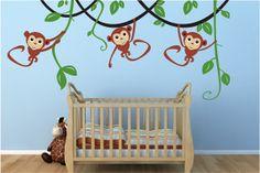 Children Wall decal -Swinging Monkeys on vines-