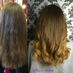 Before and after Sombre cut curly hair