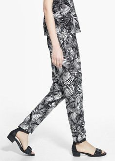 Pin for Later: Blake Lively Just Made Tropical Prints Feel Totally Sexy Mango Tropical Print Trousers Mango, Printed Trousers, Blake Lively, Trousers Women, Fashion Prints, Harem Pants, Jumpsuit, Black And White, My Style