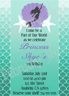 $10.00 Princess Ariel Silhouette Invitation Printable The Little Mermaid Part of Your World www.februaryskyes.com  #februaryskyes