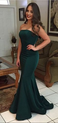 Green Prom Dresses,Mermaid Prom Dress,Strapless Prom Dress,Backless Prom DressesSimple Cheap Prom Dresses,Evening Dresses,Prom Gowns