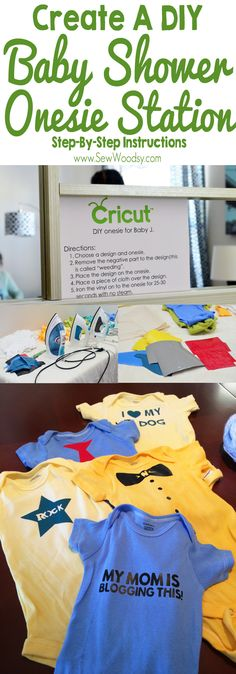 Baby Shower Onesie Station using Cricut Iron-On Vinyl #babyshower #DIY #Craft #Cricut