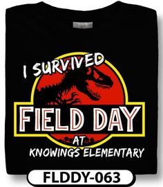 Kids love field day designs with recognizable symbols like this Jurassic Park t-shirt! Order with spiritwear.com and see why we are dino-mite!