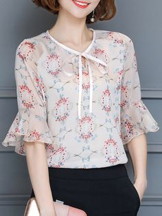Tie Collar Hollow Out Printed Bell Sleeve Blouse Buy Tie Collar Hollow Out Printed Bell Sleeve Blous Cute Blouses, Blouses For Women, Blouse Styles, Blouse Designs, Sewing Blouses, Bell Sleeve Blouse, Short Tops, Fashion Sewing, Types Of Sleeves