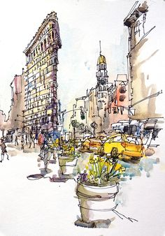 New York sketch , Flatiron Building, New York City Archival Print from a watercolor sketch The Flatiron Building in the Spring when the daffodils are in bloom. The Empire State Building sketch is here: Voyage Sketchbook, Travel Sketchbook, Art Sketchbook, Fashion Sketchbook, Flatiron Building, Chrysler Building, Building Sketch, Building Art, Urban Sketchers