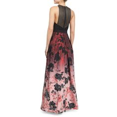 Carmen Marc Valvo Sleeveless Floral Ombre Gown (620 CAD) ❤ liked on Polyvore featuring dresses, gowns, red floral dress, red a line dress, floral halter dress, red dress and halter top