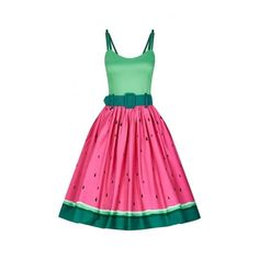 Collectif Vintage Jade Watermelon Swing Dress ❤ liked on Polyvore featuring dresses, jade dresses, trapeze dress, collectif, tent dress and pink dress