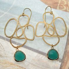 I LOVE THESE!!!!Matte Gold Earrings  Abstract with Cancun Blue Drop by bysugarbabe, $22.00