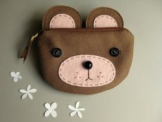 Brown Bear Zipper Pouch