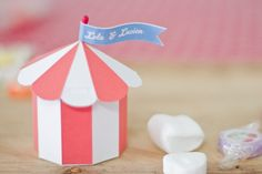 Printable Circus Tent favor box Template (these would also make cute ornaments.. just add glitter, rhinestones & a few plastic circus animals!)